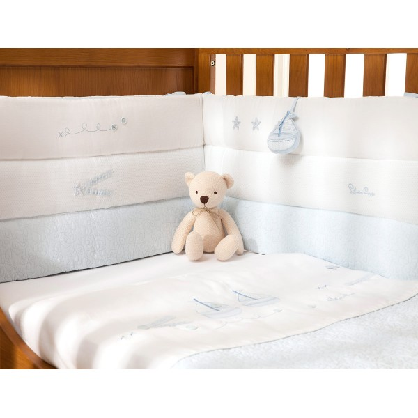 Luxury Cot Bumper Vintage Blue