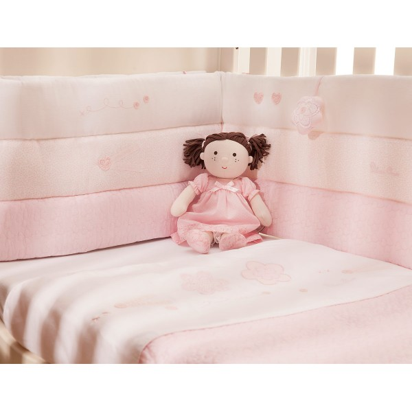 Silver Cross Luxury Cot / Cot Bed Bumper - Vintage Pink