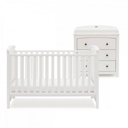silver cross ashby style white cot bed dresser