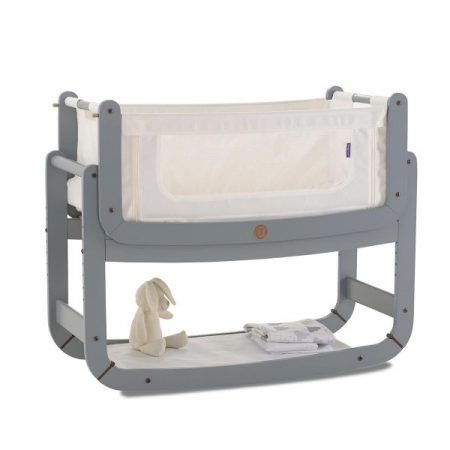 Snuzpod 2 White 0-6 Months Bedside Crib Dove Grey