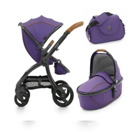 egg carrycot purple & pushcair with raincver adn changing bag