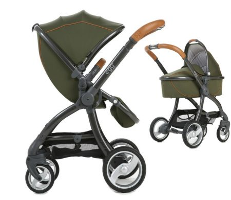 forest green package carrycot and pushchair