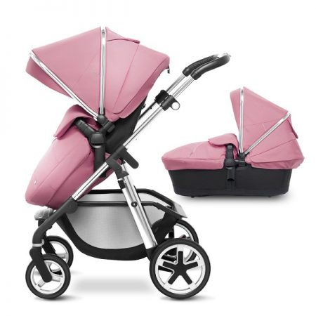 Silver Cross Chrome Pioneer with Carrycot + 2017 Vintage Pink Hood Pack