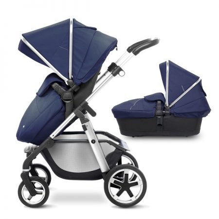 Silver Cross Chrome Pioneer with Carrycot + 2017 Vintage Blue Hood Pack