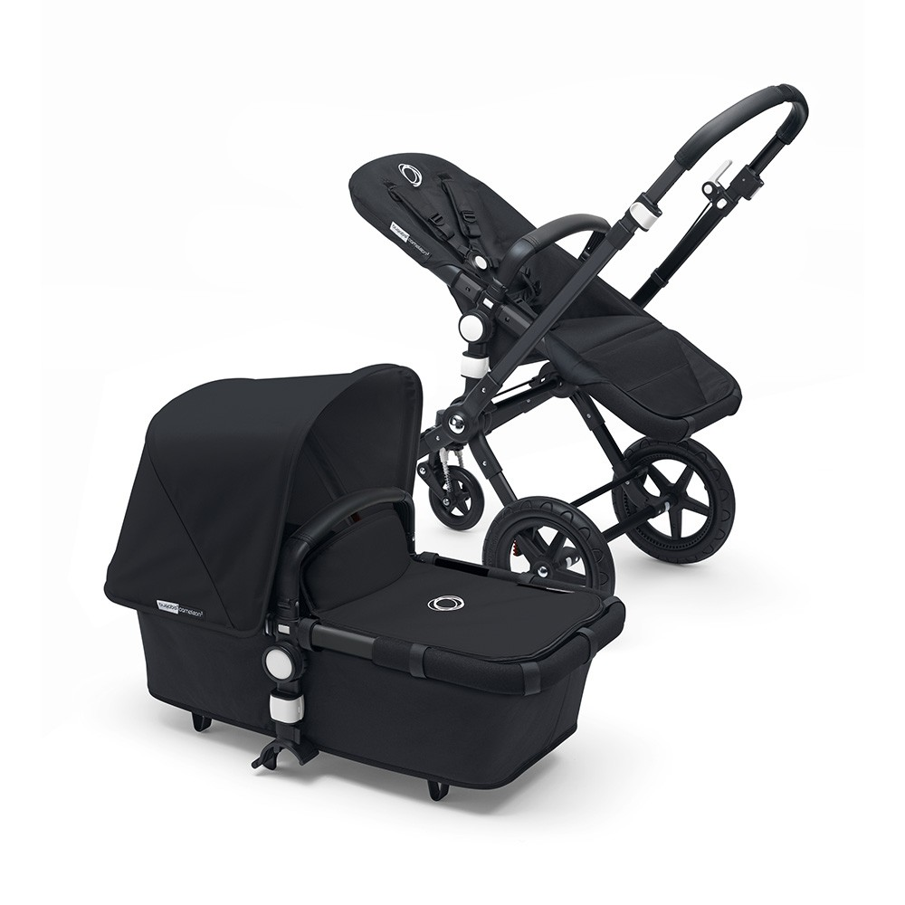 Bugaboo Cameleon3+ Pushchair & Carrycot - Black / Black Base Leather Look Handle