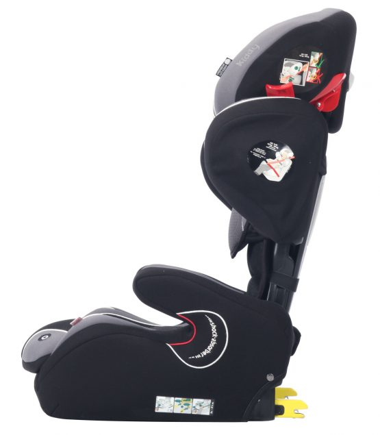 kiddy cruiserfix pro isofix child car seat racing black side 3 to 12 years