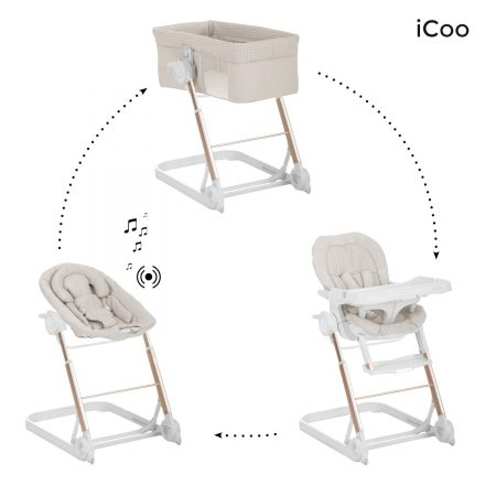 Icoo grow with me 123 diamond beige bouncer high chair crib
