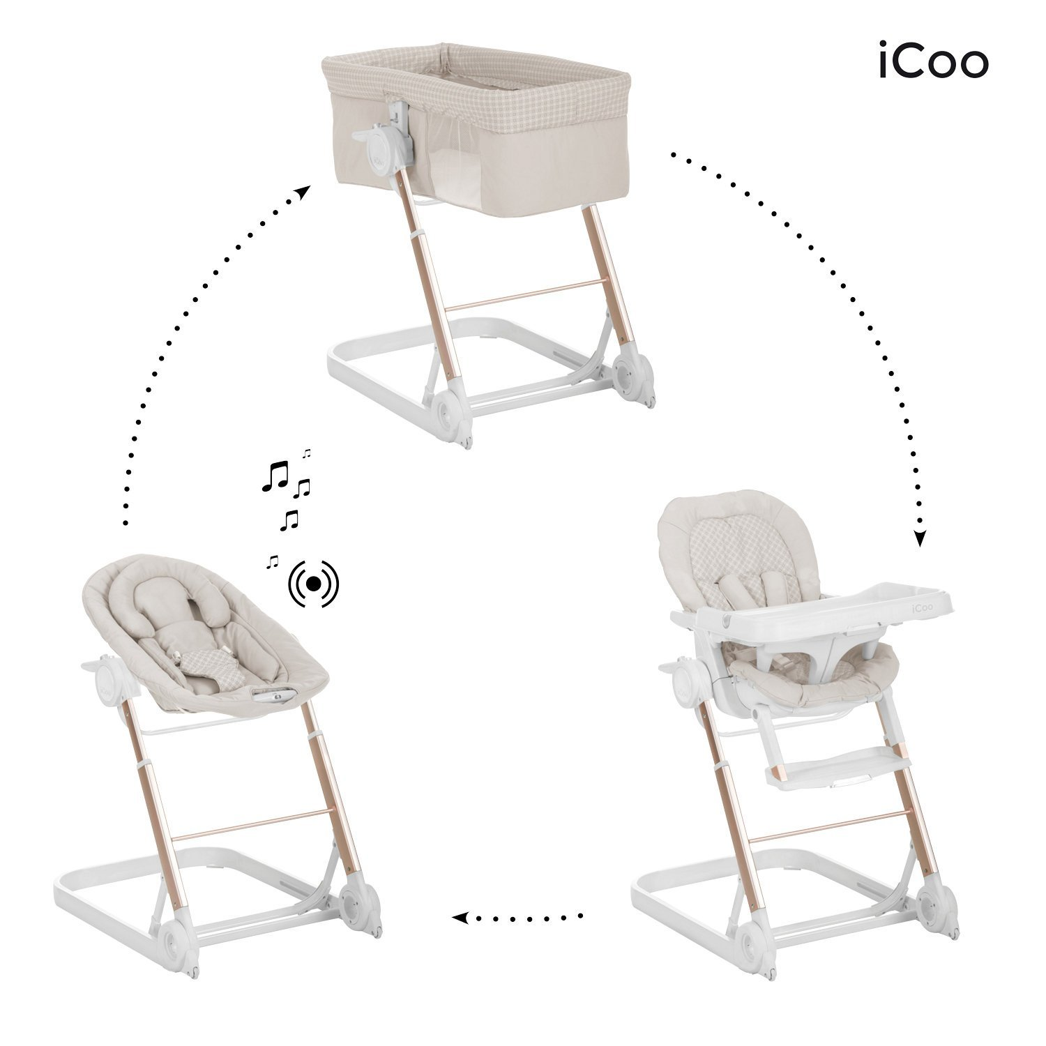 Icoo 123 Grow With Me, Bouncer, Crib & Highchair 3 in 1 Beige
