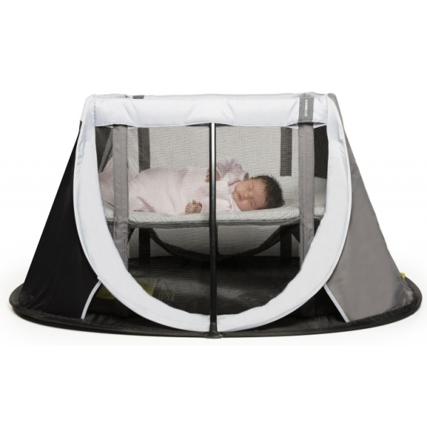 AeroMoov Instant Pop up Travel Cot with Bassinet Grey Rock