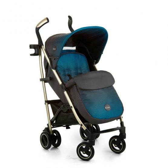 icoo pace indigo blue pushchair with apron