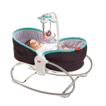 Baby in tiny love vibrating rocker napper chair 0-18kgs