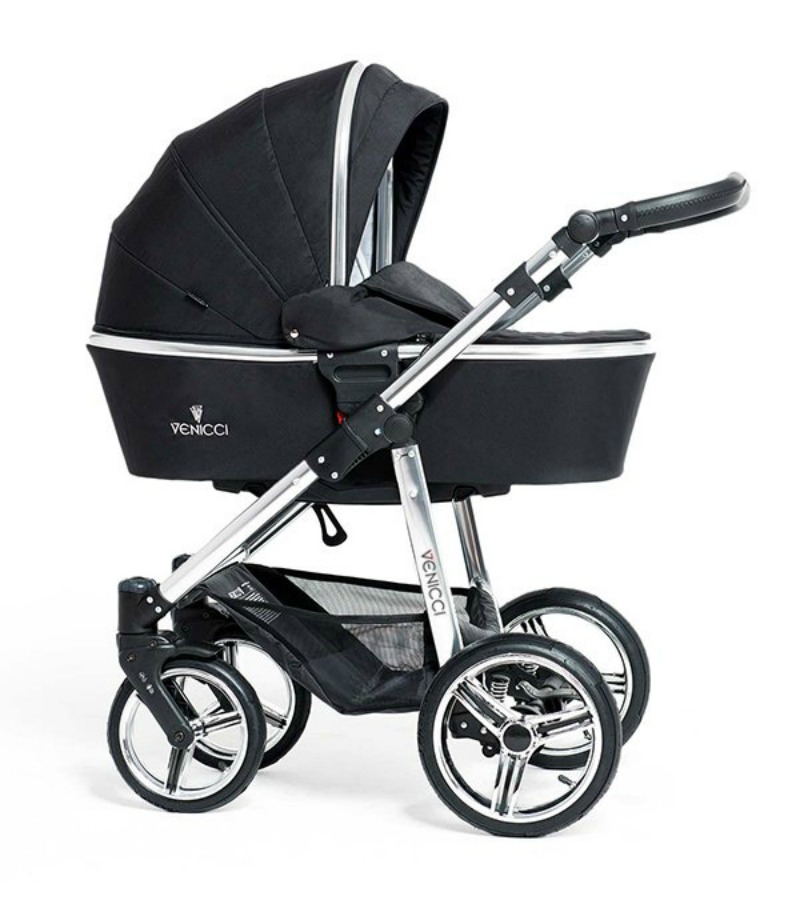 Venicci Black Chrome 3 In 1 Pushchair Carrycot Amp Car Seat
