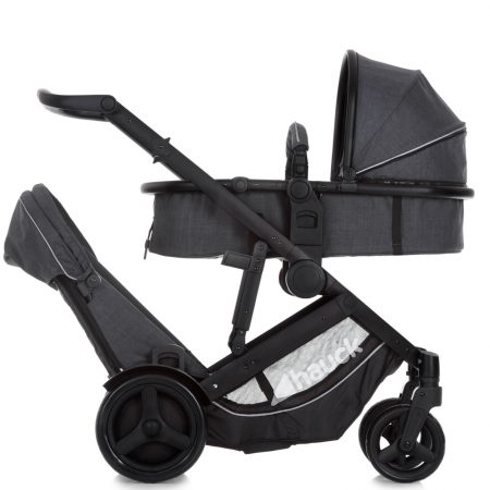 Hauck Duett 3 Pushchair Tandem Stroller - Charcoal With Raincover