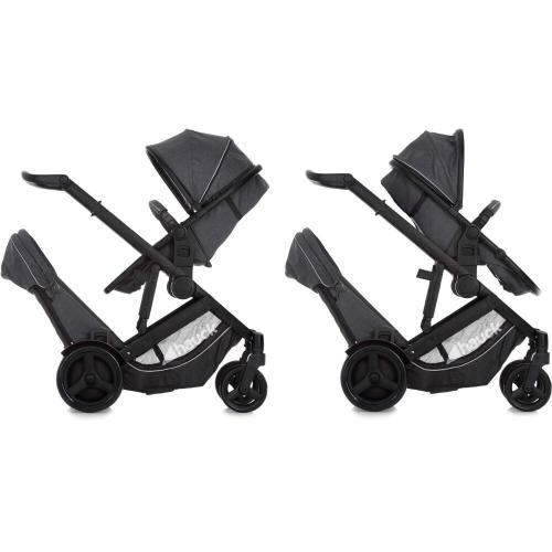 Hauck Duett 3 Pushchair Tandem Stroller – Charcoal With Raincover