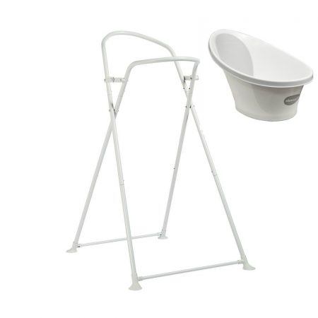Shnuggle White and Grey Baby Bath + Foldable Stand. Birth -12 Mth