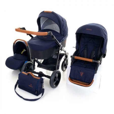 Venicci Gusto Navy and Tan Pushchair, Carrycot, Car Seat Bundle