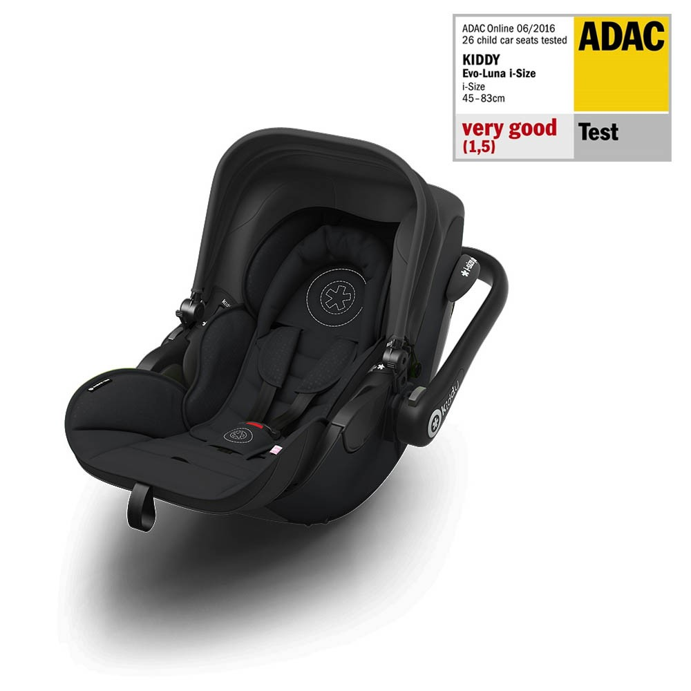Kiddy Evoluna i-Size Onyx Black Lie Flat Car Seat / Carrier & Isofix Base