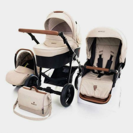 Venicci Gusto Cream and Tan Pushchair, Carrycot, Car Seat Bundle
