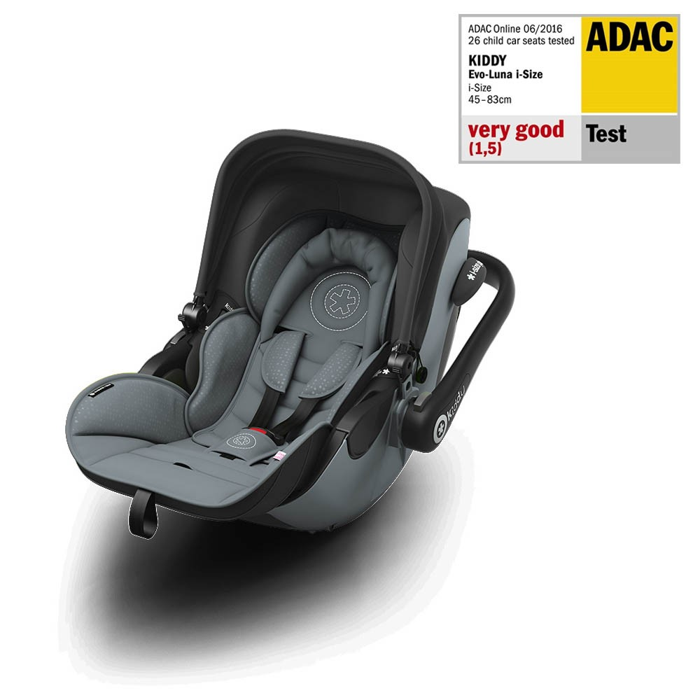 Kiddy Evoluna i-Size Steel Grey Flat Car Seat / Carrier & Isofix Base