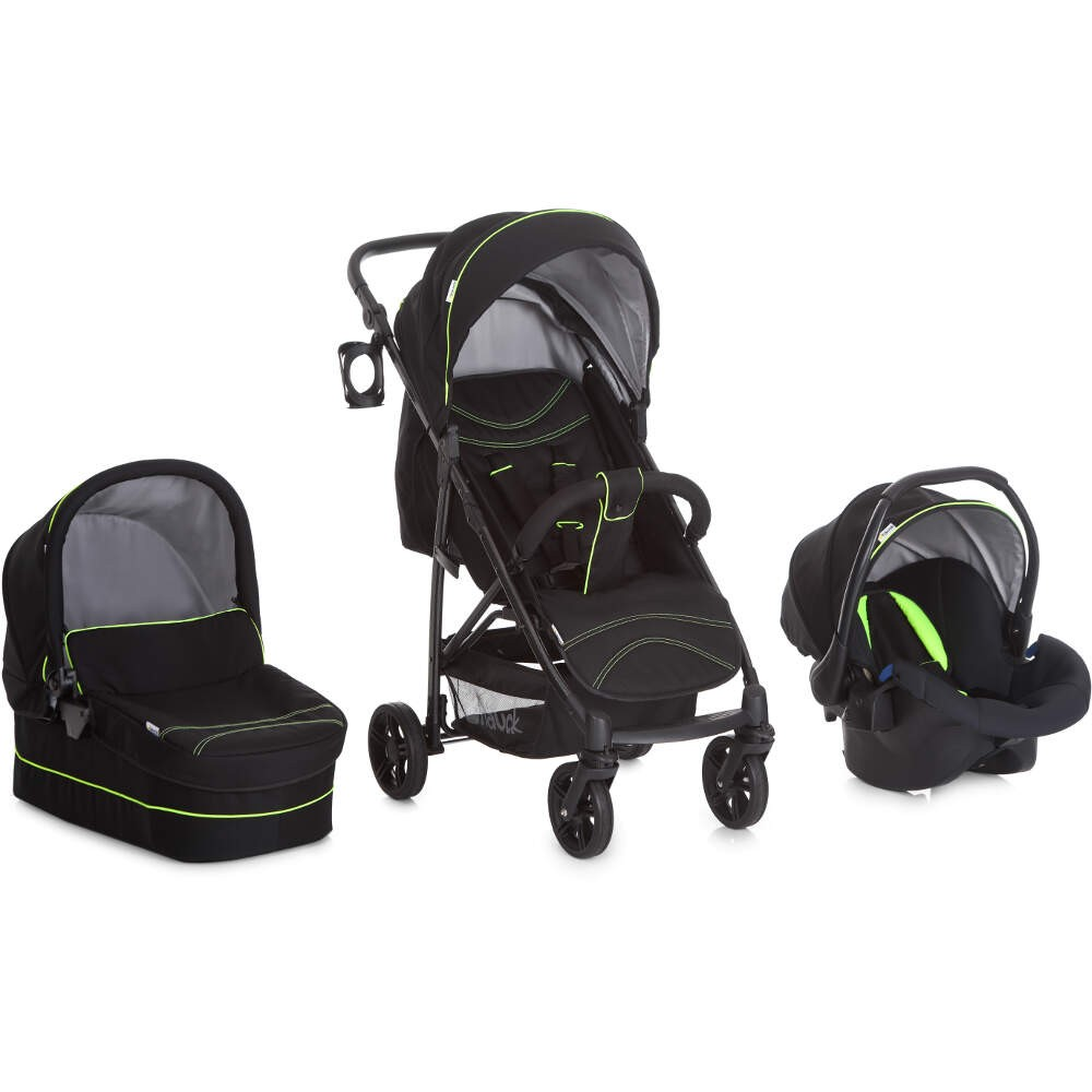 Hauck Rapid 4S Travel System, Pushchair, carrycot, Car Seat - Caviar/ Neon Yellow