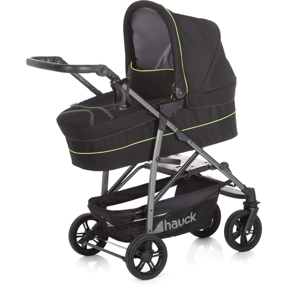 Hauck Rapid 4S Travel System, Pushchair, carrycot, Car Seat – Caviar/ Neon Yellow