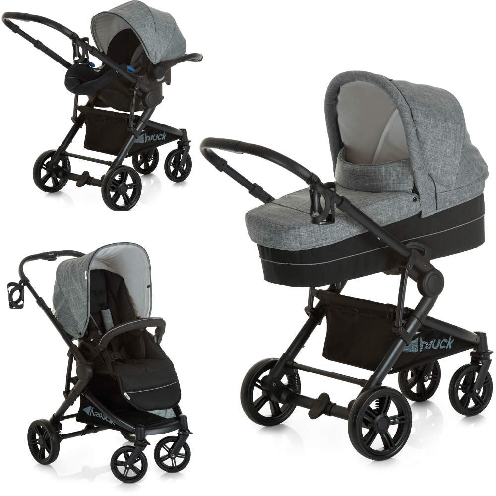 Hauck Atlantic Plus Trio Set 2018 Model, Pushchair, Carrycot, Car Seat - Grey Melange