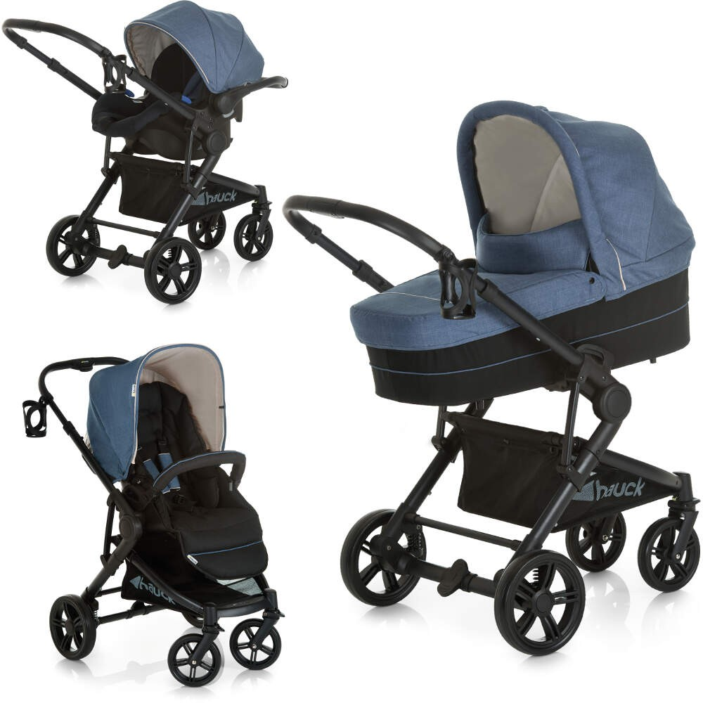 Hauck Atlantic Plus Trio Set 2018 Model, Pushchair, carrycot, Car Seat - Jeans Melange