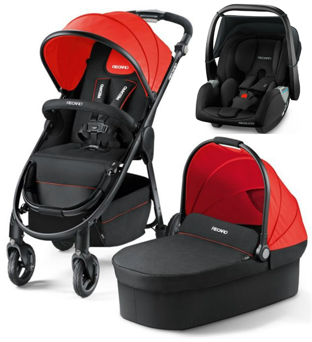 Recaro Citylife Travel System With Privia Evo Car Seat Carrier Ruby Lightbox
