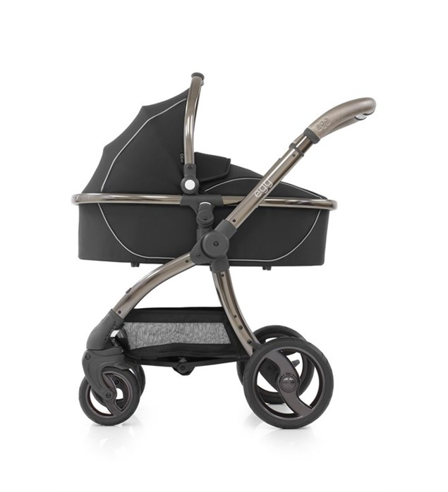New Egg Shadow Black Pushchair, Carrycot, Fleece Seat Liner + Raincovers