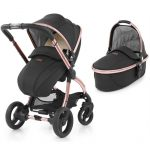 Black and rose gold pram and carrycot