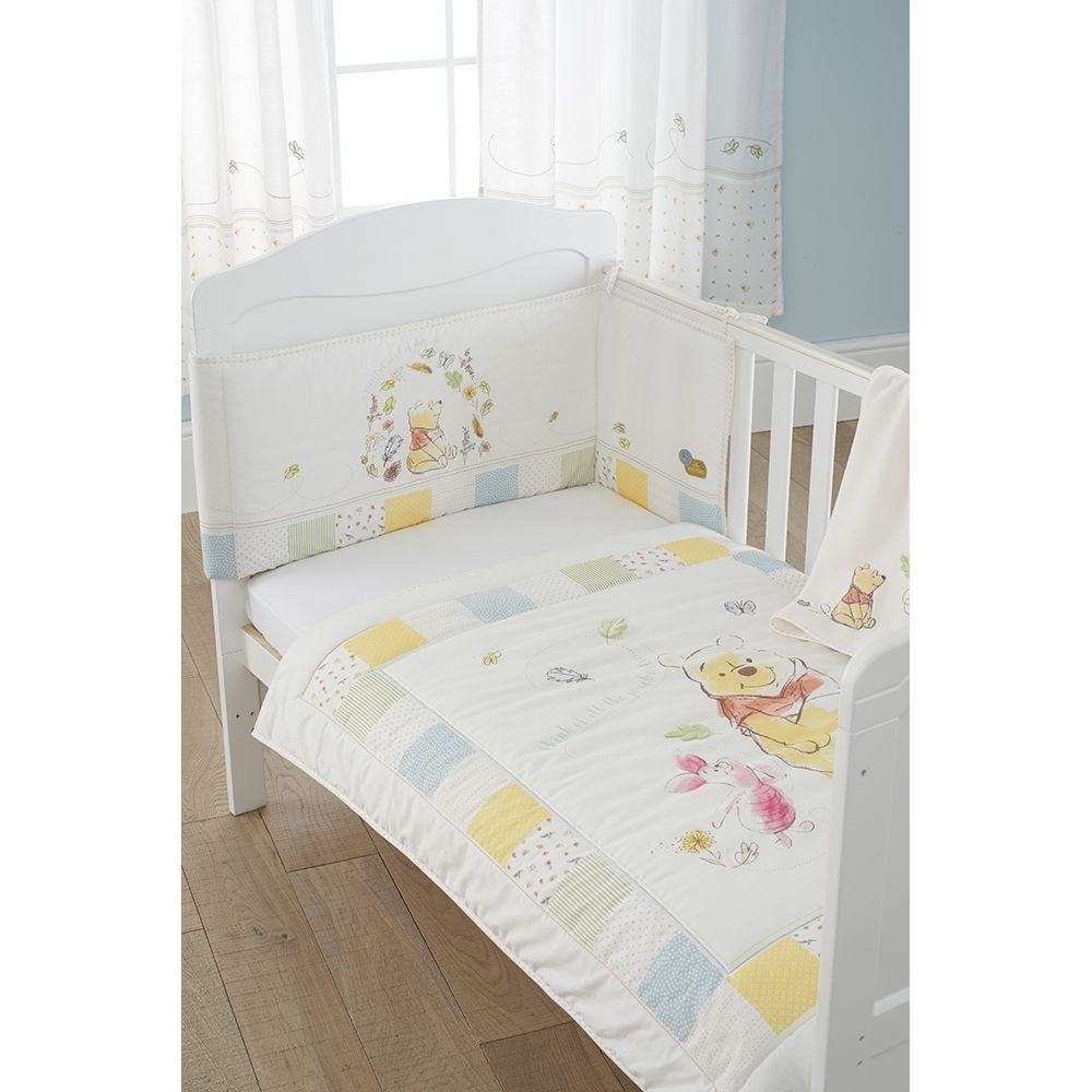 East Coast Disney 3 Piece Bedding Set Quality Quilt, Bumper + Blanket – Winnie the Pooh