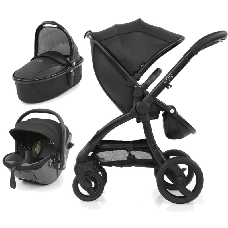 Egg Jurassic Black Special Edition Package - Includes Pushchair, Carrycot, Kiddy Egg Evoluna iSize & Isofix Base