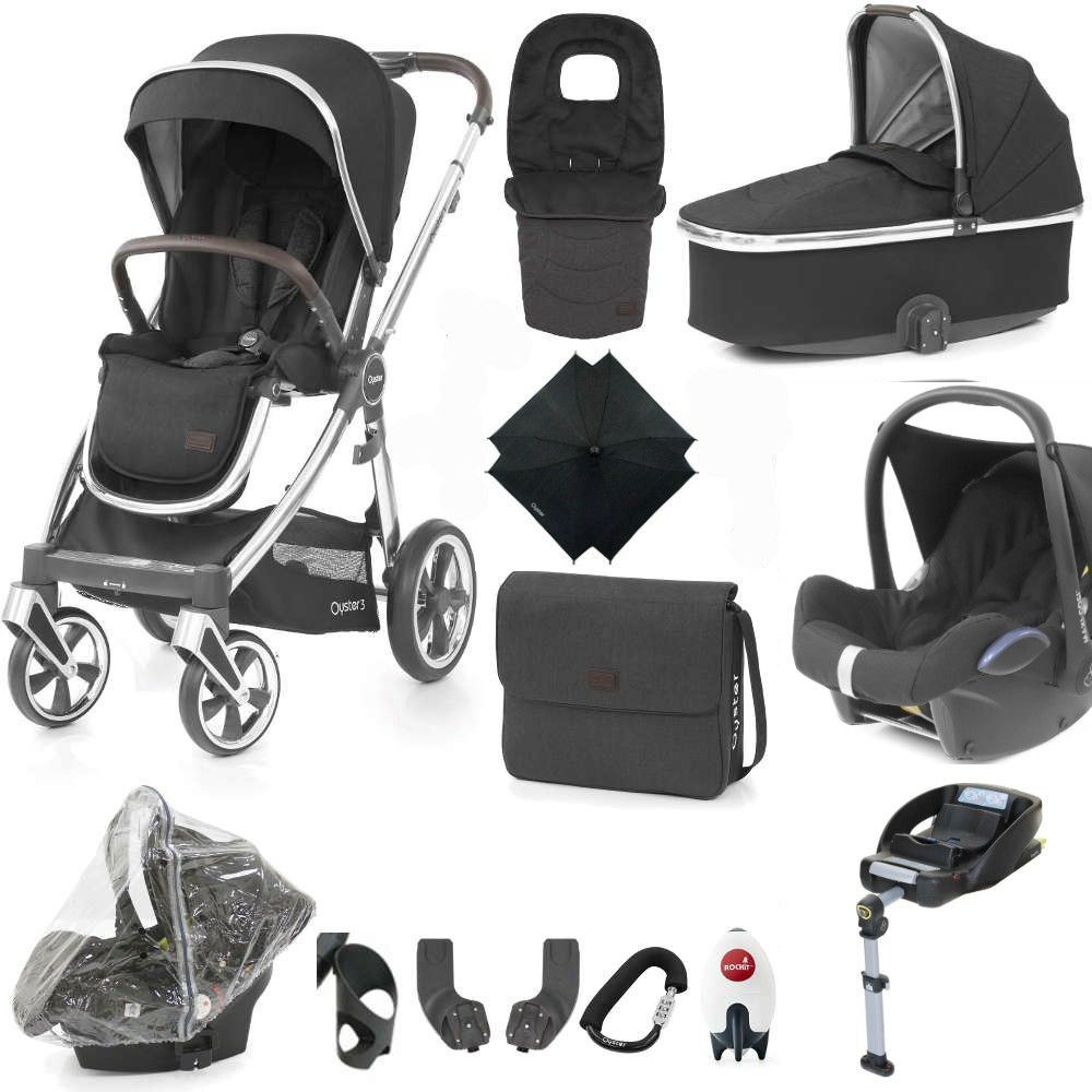 Black BabyStyle Oyster Lock Buggy Clip Secure Your Pushchair