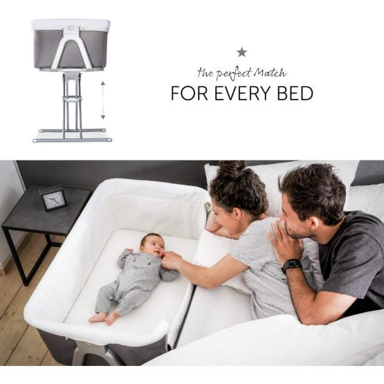 Hauck Face to Me bedside Crib Grey