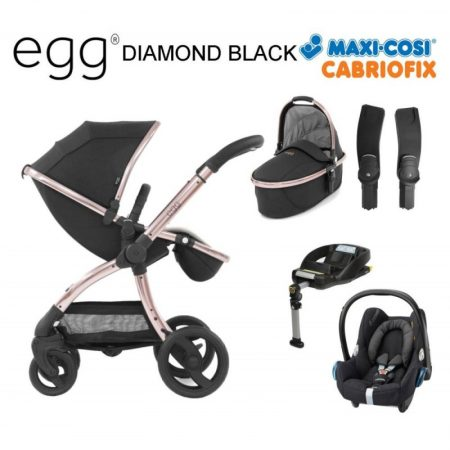 Egg Diamond Rose Gold Includes: Pushchair, Carrycot, Car Seat + Isofix Base
