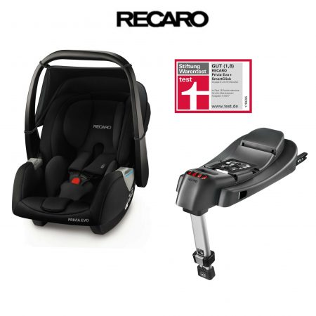 Recaro Privia Evo Baby Car Seat Black with Isofix Base - Birth to 15 Months