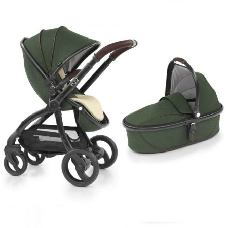 Egg Country Green Pushchair, Carrycot, Fleece Seat Liner + Raincovers
