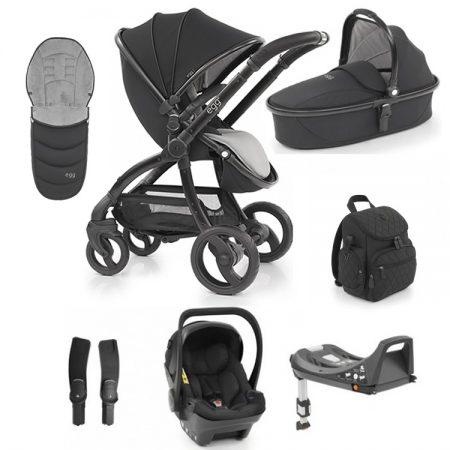 Egg Just Black 8 Piece Bundle - Bag, footmuff, Egg Car Seat & Base