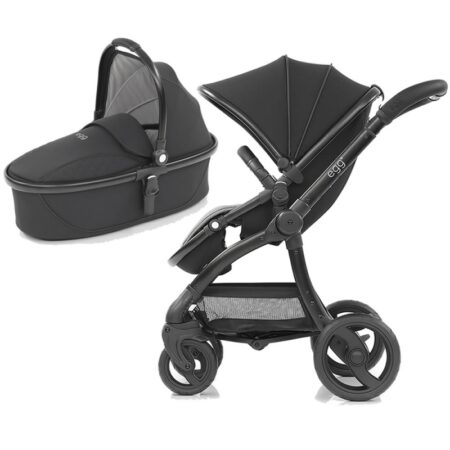 Egg Special Edition Just Black Pushchair & Carrycot ( carrycot Ex display)