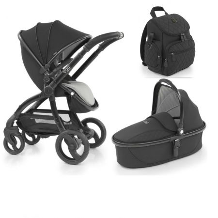 Egg Special Edition Just Black Pushchair, Carrycot + Rucksack