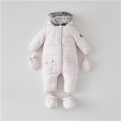 Silver Cross Pink Quilted Pramsuit