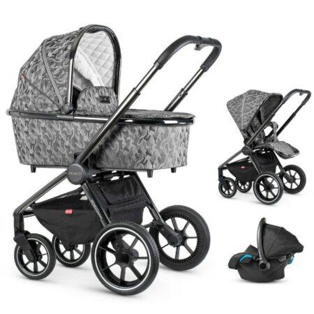 Venicci Tinum Camo Grey 3 in 1  + Car Seat and FREE ISOFIX BASE