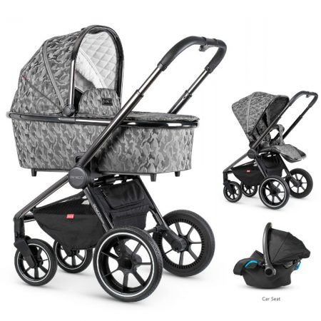 Venicci Tinum Camo Grey 3 in 1 Bundle + Car Seat and Accessories