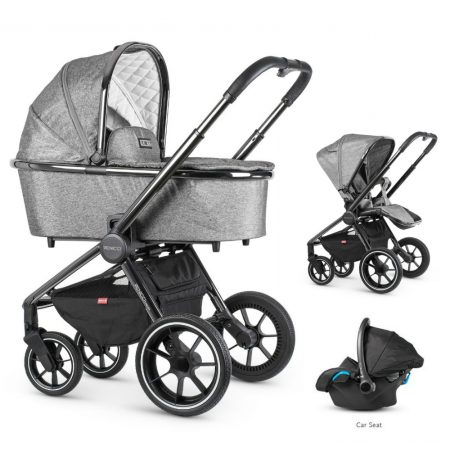 Venicci Tinum Dark Grey Pram Bundle + Car Seat and Accessories