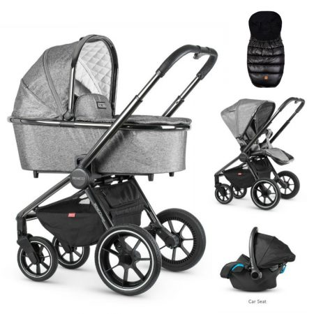Venicci Tinum Dark Grey Pram Bundle + Car Seat and FREE Footmuff