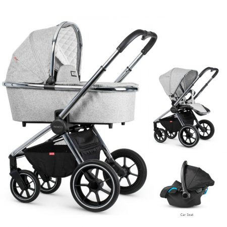 Venicci Tinum Light Grey Pram Bundle + Car Seat and Accessories