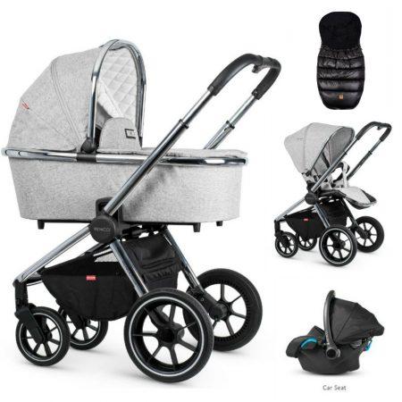 Venicci Tinum Light Grey Pram Bundle + Car Seat & FREE footmuff