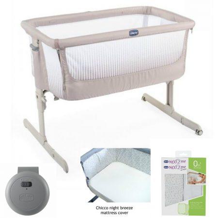 Chicco Next 2 Me `Air` Bedside / Stand Alone Crib Bundle Dark Beige
