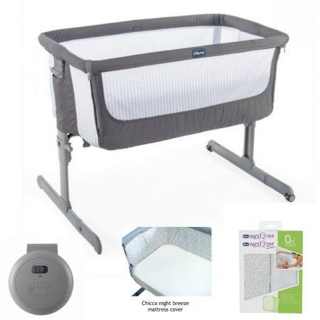 Chicco Next 2 Me `Air`  Bedside / Stand Alone Crib Bundle Dark Grey