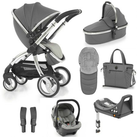 Egg Anthracite Luxury 8 Piece Bundle - Bag,footmuff, Egg Car Seat & Base